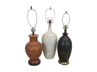 Three Mid Century Pottery Lamps