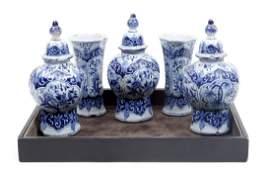 Antique bluewhite earthenware miniature 5piece set