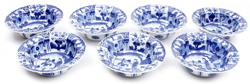 7 Blue / white Chinese porcelain bowls with decoration