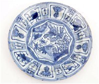 Antique blue / white Chinese 'kraak' porcelain dish,