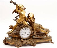 Antique bronze mantel clock with an angel and child