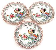 3 Polychrome Chinese porcelain plates, decorated with