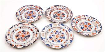 5 Antique Chinese Imari porcelain plates decorated with