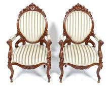 2 Antique mahogany armchairs covered with yellow /