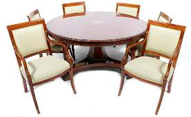 Old walnut round dining room table inlaid with burr