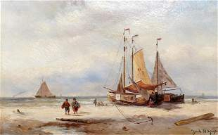 Jacob W. Gruyten, Beach scene with boats and people,