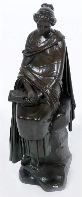 Unknown artist, Art Deco bronze sculpture of a seated