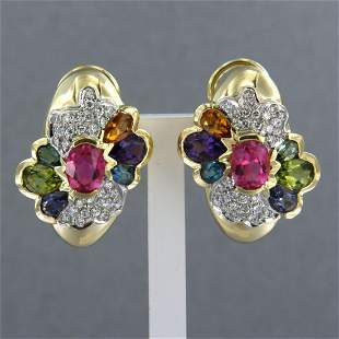 Pair of 18k gold bicolor ear clips set with various