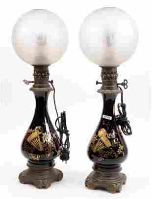 2 Antique painted opaline oil lamps with round glass