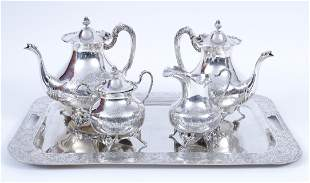 Large silver service set consisting of a coffee pot,