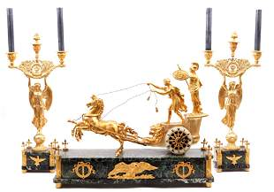 Antique Empire ormolu bronze chariot mantel clock set