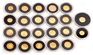 22 Fine gold coins, the smallest gold coin collection