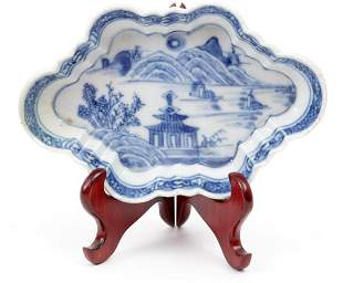 Antique blue/white Chinese porcelain patti pan with