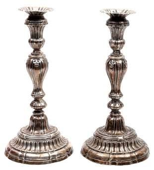 Pair of silver candlesticks, circa 2000 grams