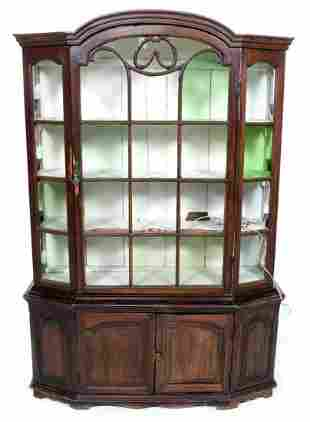 Antique dark stained pine display cabinet, h.188 x