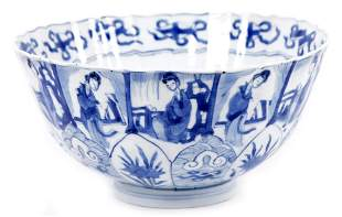 Antique blue/white Chinese porcelain bowl with
