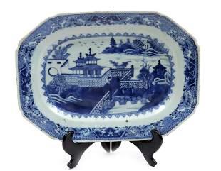Antique blue/white Chinese porcelain rectangular dish