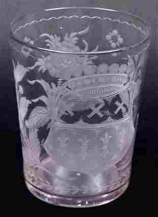 Antique engraved grape rinser with coat of arms