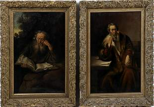 Unknown artist, Two portraits of men, oil on canvas,