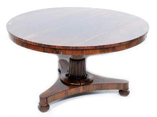Antique rosewood round dining room table, h.70 x