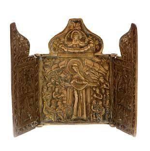 Copper travel icon, 19th century, 10 x 14 cm.