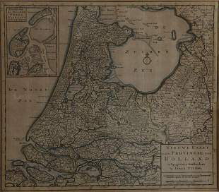 """Antique hand-coloured map """"New Map of the Province of"""
