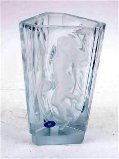 Satin crystal vase with female figures, h.21 cm.