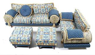 Sofa with armchair and 2 footstools, covered with blue