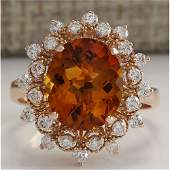 485 CTW Natural Madeira Citrine And Diamond Ring 14K