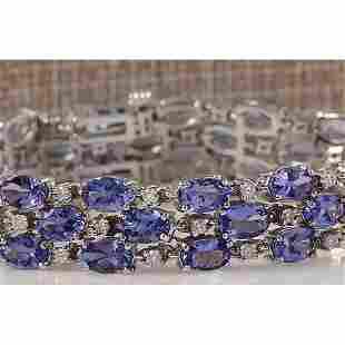 23.85CTW Natural Tanzanite And Diamond Bracelet In 14K