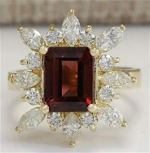 4.43 CTW Natural Red Tourmaline And Diamond Ring 18K
