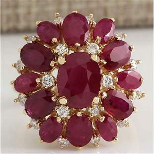 7.47 CTW Natural Red Ruby And Diamond Ring 14K Solid