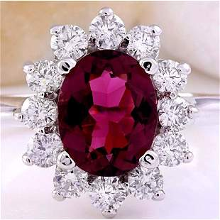 2.93 CTW Natural Tourmaline 18K Solid White Gold