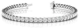 10.92 Carat Diamond Engagement 14K White Gold Bracelet