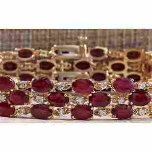 38.13CTW Natural Ruby And Diamond Bracelet In 14K Solid