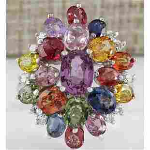 6.60 CTW Natural Ceylon Sapphire And Diamond Ring In