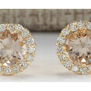 3.65 CTW Natural Morganite And Diamond Earrings 14k