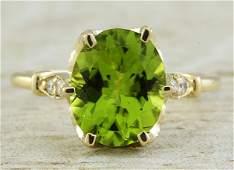 341 CTW Peridot 14K Yellow Gold Diamond Ring