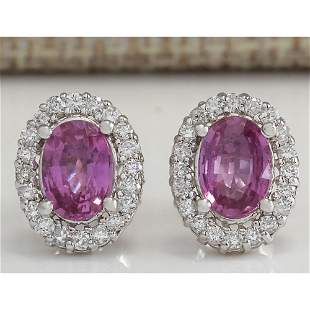 3.10 CTW Natural Pink Sapphire And Diamond Earrings 18K