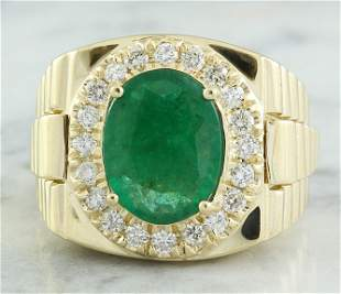 4.59 CTW Mens Emerald 18K Yellow Gold Diamond Ring