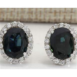 6.86 CTW Natural Sapphire And Diamond Earrings 18K