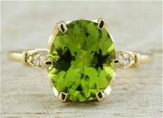 341 CTW Peridot 14K Yellow Gold Diamond Ring