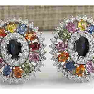 8.55 CTW Natural Sapphire And Diamond Earrings 18K
