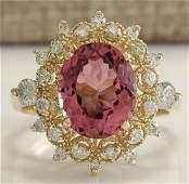461 CTW Natural Pink Tourmaline And Diamond Ring 14K