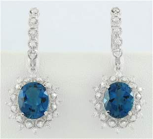 9.75 CTW Topaz 14K White Gold Diamond Earrings
