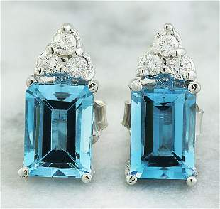 2.65 CTW Topaz 14K White Gold Diamond Earrings
