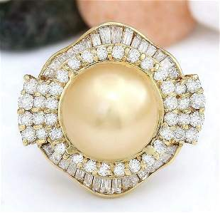 14.08 mm Gold South Sea Pearl 14K Solid Yellow Gold