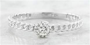 0.10 CTW Diamond 18K White Gold Solitaire Ring