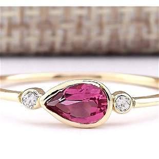 0.58 CTW Natural Pink Tourmaline And Diamond Ring 14k