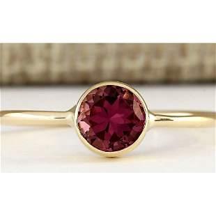 0.80 CTW Natural Pink Tourmaline Ring In 14k Yellow